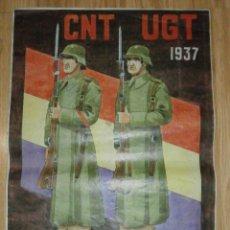 Carteles Guerra Civil: CARTEL - CNT - UGT 1937 - PASAREMOS - 42 X 29,5 -. Lote 58331419