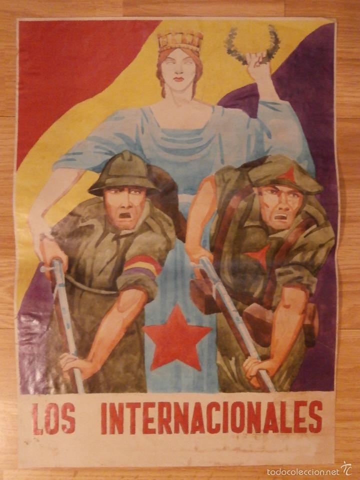 Carteles Guerra Civil: CARTEL - LOS INTERNACIONALES - 42 cm x 29,5 cm.. - - Foto 2 - 58331697