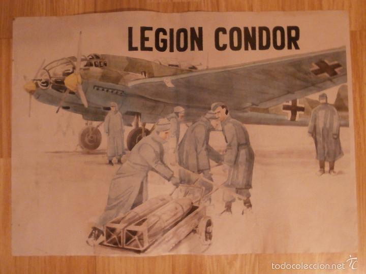 Carteles Guerra Civil: CARTEL - LEGION CONDOR - 42 cm x 29,5 cm.. - - Foto 2 - 58331732