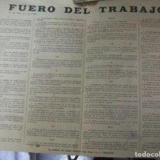 Carteles Guerra Civil: + GUERRA CIVIL. FUERO DEL TRABAJO. 1ª EDICION AÑO 1938 TIP. TOMAS BLASCO ZARAGOZA 46 X 32 CM. Lote 63895867