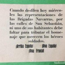 Carteles Guerra Civil: CARTEL GUERRA CIVIL - DESFILE BRIGADAS DE NAVARRA POR SAN SEBASTIÁN - CARLISMO - REQUETE. Lote 66341782