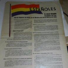 Carteles Guerra Civil: (M) CARTEL GUERRA CIVIL - ESPAÑOLES D JUAN NEGRIN PRESIDENTE DEL CONSEJO DE MINISTROS 1938. Lote 69236653