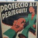 Carteles Guerra Civil: CARTEL GUERRA CIVIL PROTECCIO ALS PERSEGUITS PEL FEIXISME SRI ( ORIGINAL ) ILUSTRADO GUIRI-GUET. Lote 73678887