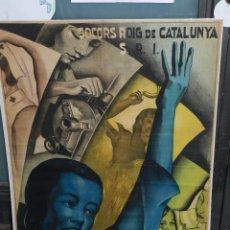 Carteles Guerra Civil: CARTEL GUERRA CIVIL - SRI SOCORS ROIG DE CATALUNYA SRI - ¡ DONA ! SUPERA LA TEVA OBRA ( ORIGINAL ). Lote 73679219