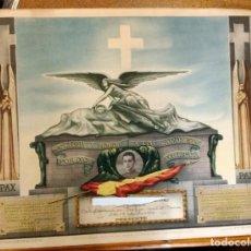 Carteles Guerra Civil: GUERRA CIVIL, CAIDO GLORIOSAMENTE POR DIOS POR ESPAÑA EN ARAVACA. MADRID. CABO TRANSMISIONES 1936. Lote 81081632