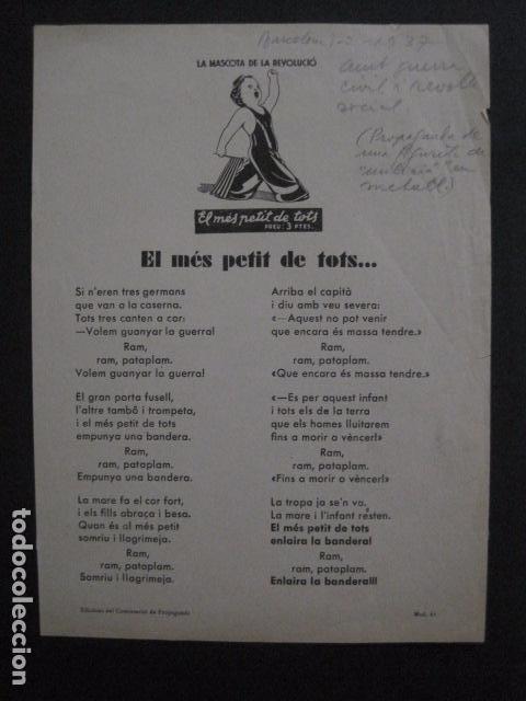 CARTELL EL MES PETIT DE TOTS-LOLA ANGLADA-ANY 1937-GUERRA CIVIL-MASCOTA REVOLUCIO-VER FOTOS-V-11.236 (Coleccionismo - Carteles Gran Formato - Carteles Guerra Civil)