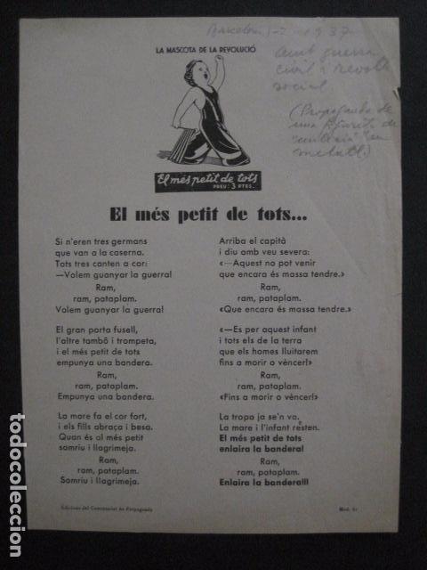 Carteles Guerra Civil: CARTELL EL MES PETIT DE TOTS-LOLA ANGLADA-ANY 1937-GUERRA CIVIL-MASCOTA REVOLUCIO-VER FOTOS-V-11.236 - Foto 2 - 87441940