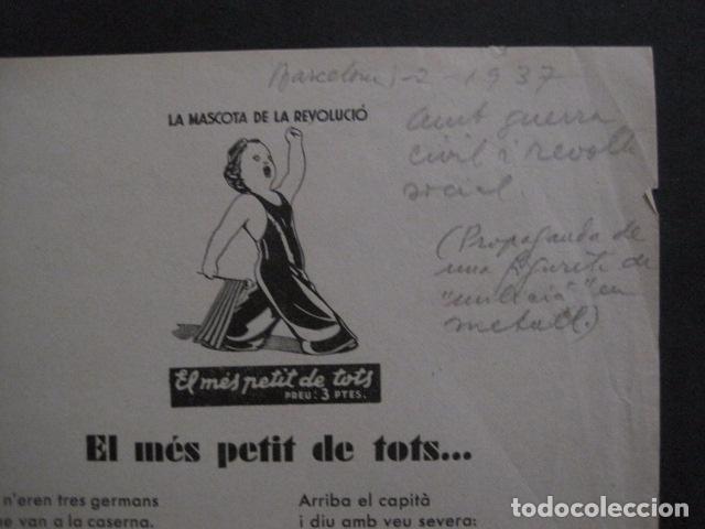 Carteles Guerra Civil: CARTELL EL MES PETIT DE TOTS-LOLA ANGLADA-ANY 1937-GUERRA CIVIL-MASCOTA REVOLUCIO-VER FOTOS-V-11.236 - Foto 4 - 87441940