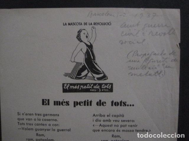 Carteles Guerra Civil: CARTELL EL MES PETIT DE TOTS-LOLA ANGLADA-ANY 1937-GUERRA CIVIL-MASCOTA REVOLUCIO-VER FOTOS-V-11.236 - Foto 5 - 87441940