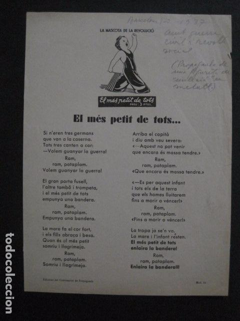 Carteles Guerra Civil: CARTELL EL MES PETIT DE TOTS-LOLA ANGLADA-ANY 1937-GUERRA CIVIL-MASCOTA REVOLUCIO-VER FOTOS-V-11.236 - Foto 7 - 87441940