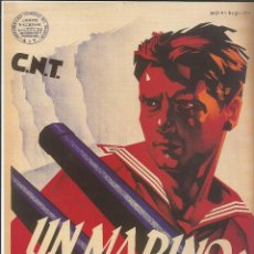 Carteles Guerra Civil: CARTEL GUERRA CIVIL - *UN MARINO: UN HEROE* - ARTURO BALLESTER (1937). Lote 110479547