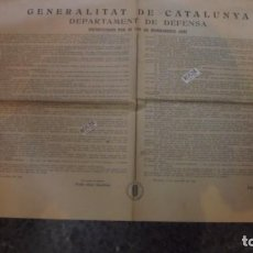 Carteles Guerra Civil: GUERRA - CIVIL BARCELONA 21 SEPT. 1936 - GENERALITAT DE CATALUNYA - DEPARTAMENT DE DEFENSA INSTRUCCI. Lote 89983172