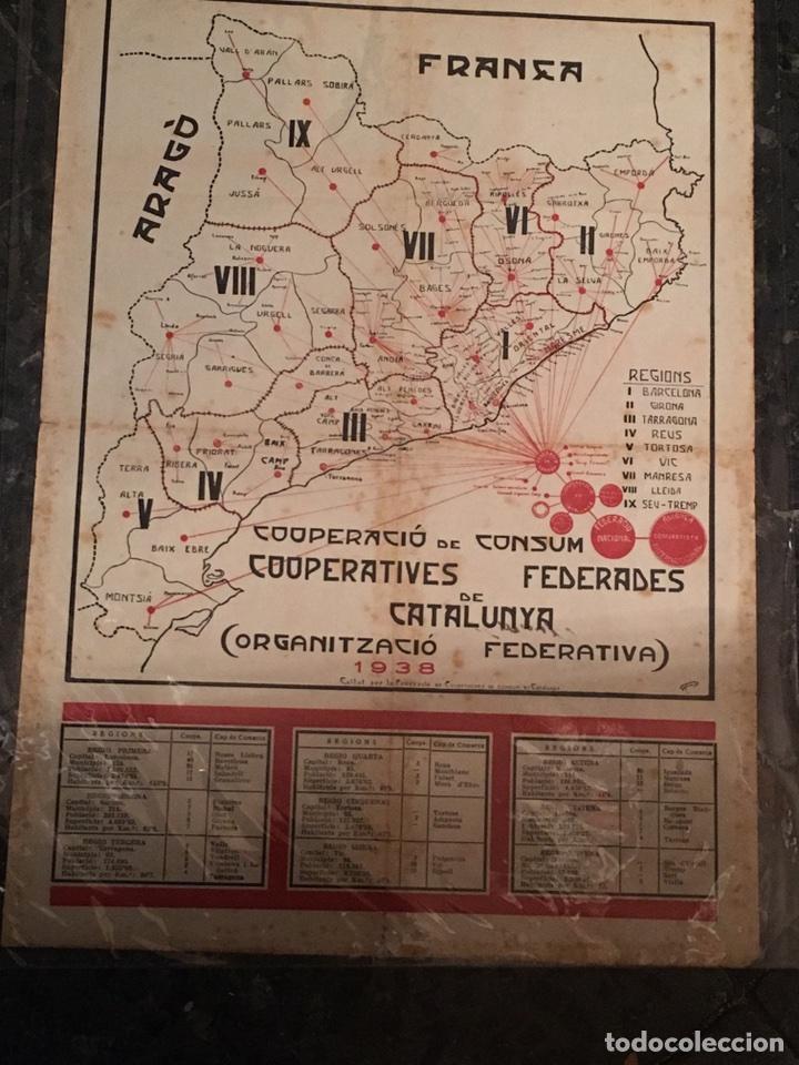 CARTEL GUERRA CIVIL 1938 COOPERACIÓ DE CONSUM FEDERADES DE CATALUNYA (Coleccionismo - Carteles Gran Formato - Carteles Guerra Civil)