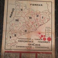 Carteles Guerra Civil: CARTEL GUERRA CIVIL 1938 COOPERACIÓ DE CONSUM FEDERADES DE CATALUNYA. Lote 101473816