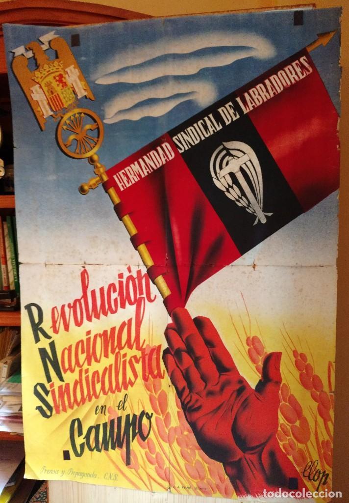 ZVCOLEC.CARTEL ORIGINAL.REVOLUCION NACIONAL SINDICALISTA EN EL CAMPO. 100 X 68 CM. (Coleccionismo - Carteles Gran Formato - Carteles Guerra Civil)
