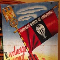 Carteles Guerra Civil: ZVCOLEC.CARTEL ORIGINAL.REVOLUCION NACIONAL SINDICALISTA EN EL CAMPO. 100 X 68 CM.. Lote 110923199