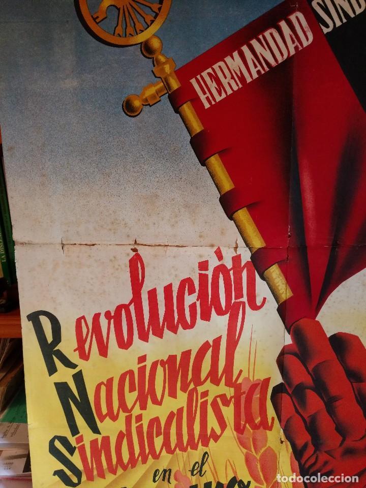Carteles Guerra Civil: ZVCOLEC.CARTEL ORIGINAL.REVOLUCION NACIONAL SINDICALISTA EN EL CAMPO. 100 X 68 cm. - Foto 2 - 110923199