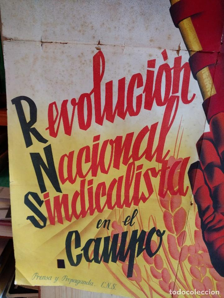 Carteles Guerra Civil: ZVCOLEC.CARTEL ORIGINAL.REVOLUCION NACIONAL SINDICALISTA EN EL CAMPO. 100 X 68 cm. - Foto 4 - 110923199