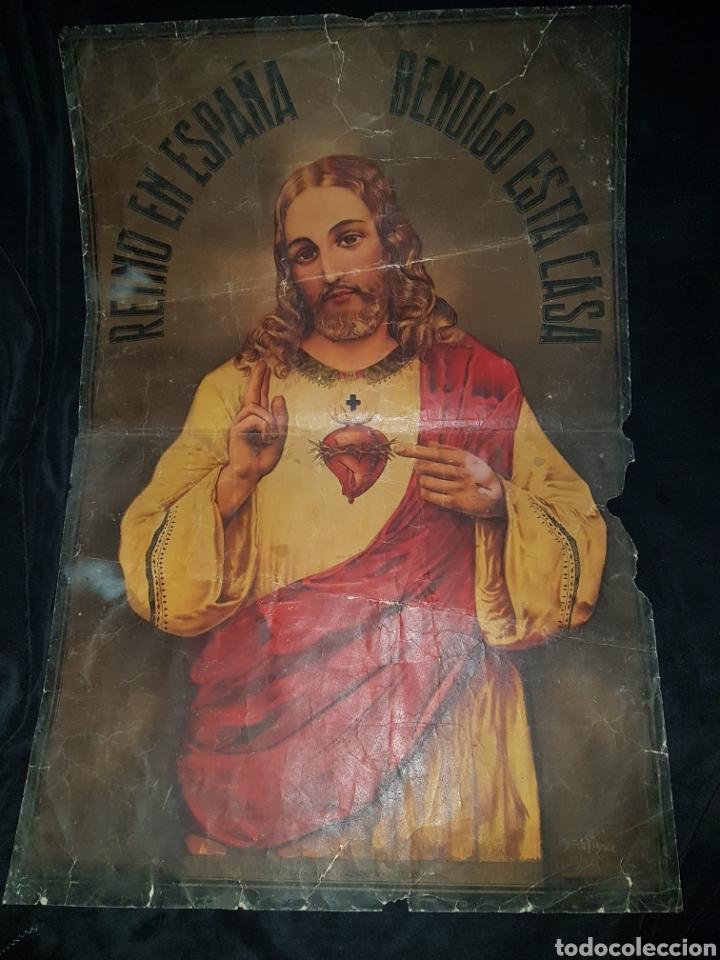 GRAN CARTEL DETENTE CORAZON JESUS GUERRA CIVIL GRAFICAS TOLOSA (Coleccionismo - Carteles Gran Formato - Carteles Guerra Civil)