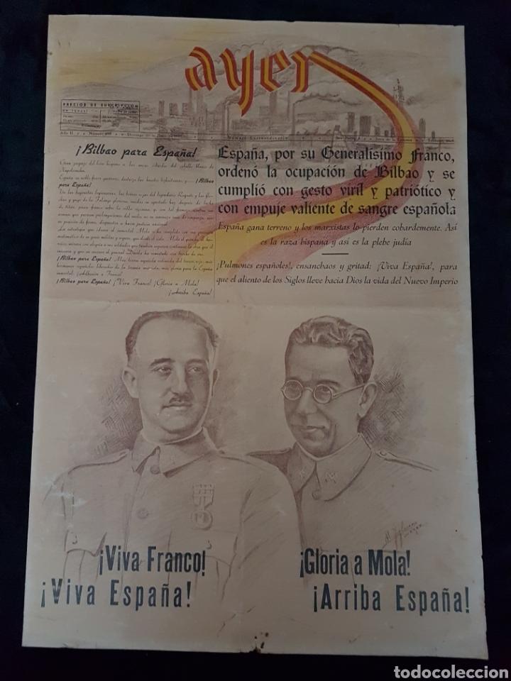INCREIBLE CARTEL PERIODICO GUERRA CIVIL FRANCO MOLA JEREZ DE LA FRONTERA 1937 (Coleccionismo - Carteles Gran Formato - Carteles Guerra Civil)
