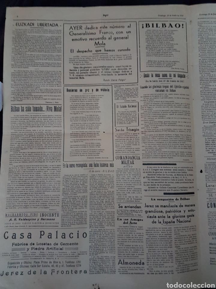 Carteles Guerra Civil: Increible cartel periodico guerra civil Franco Mola Jerez de la Frontera 1937 - Foto 2 - 111925979
