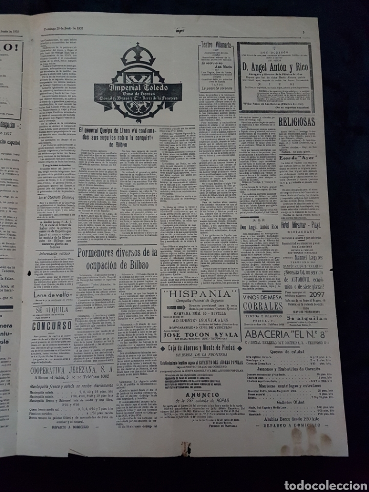 Carteles Guerra Civil: Increible cartel periodico guerra civil Franco Mola Jerez de la Frontera 1937 - Foto 3 - 111925979