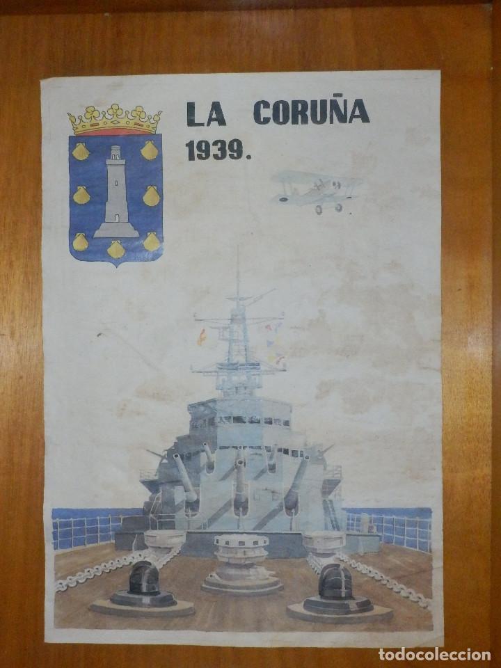 CARTEL - LA CORUÑA 1939 - 42 CM X 29,5 CM.. (Coleccionismo - Carteles Gran Formato - Carteles Guerra Civil)