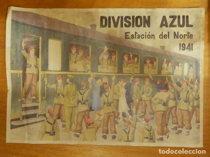 CARTEL - DIVISIÓN AZUL - ESTACIÓN DEL NORTE 1941 - 42 CM X 29,5 CM.. - (Coleccionismo - Carteles Gran Formato - Carteles Guerra Civil)