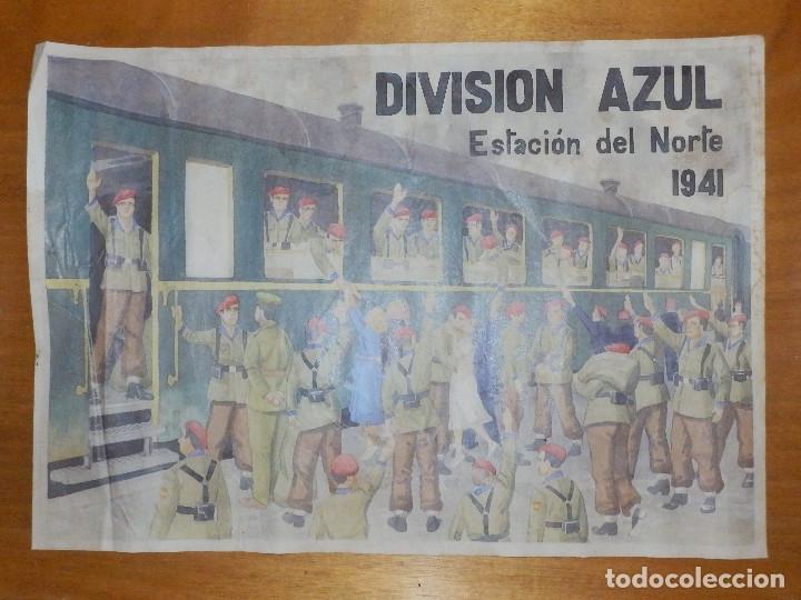 Carteles Guerra Civil: CARTEL - DIVISIÓN AZUL - ESTACIÓN DEL NORTE 1941 - 42 CM X 29,5 CM.. - - Foto 2 - 116001507