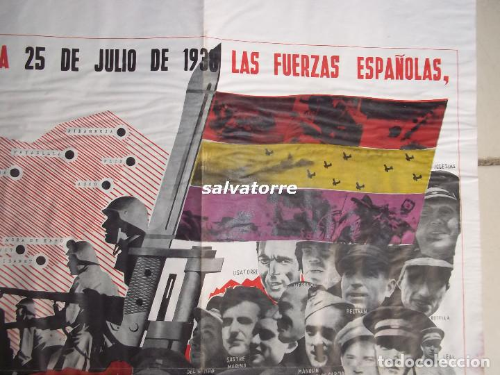 Carteles Guerra Civil: JOSEP RENAU. EXCEPCIONAL CARTEL REPUBLICA ESPAÑOLA.EJERCITO ESPAÑOL.BATALLA EBRO.1938.ORIGINAL - Foto 2 - 117869183