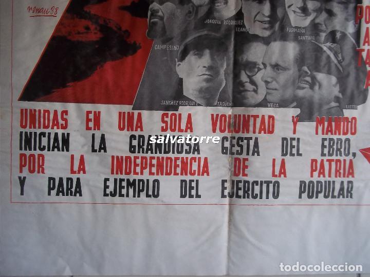 Carteles Guerra Civil: JOSEP RENAU. EXCEPCIONAL CARTEL REPUBLICA ESPAÑOLA.EJERCITO ESPAÑOL.BATALLA EBRO.1938.ORIGINAL - Foto 5 - 117869183
