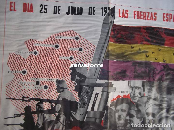 Carteles Guerra Civil: JOSEP RENAU. EXCEPCIONAL CARTEL REPUBLICA ESPAÑOLA.EJERCITO ESPAÑOL.BATALLA EBRO.1938.ORIGINAL - Foto 7 - 117869183