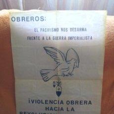 Carteles Guerra Civil: CG-1.- CARTEL -- GUERRA CIVIL-- OBREROS -VIOLENCIA OBRERA, AGRUPACION MAYO 37.- MEDIDAS 70 X 48 . Lote 120129459