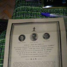 Carteles Guerra Civil: GUERRA CIVIL ESPAÑOLA. MUERTE DE 3 PERSONAS. GRATIS. 27 DE JULIO DE 1938. ORIGINAL DE EPOCA. Lote 122152674