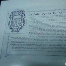 Carteles Guerra Civil: GUERRA CIVIL. SEGOVIANOS REFUGIADOS EN MADRID. ORIGINAL Y ENMARCADO. Lote 124683344