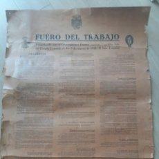 Carteles Guerra Civil: FUERO DEL TRABAJO. CARTEL. CNS VALENCIA. CARTULINA.. Lote 127208175