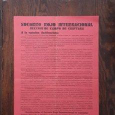 Carteles Guerra Civil: SOCORRO ROJO INTERNACIONAL CAMPO DE CRIPTANA 1937 CIUDAD REAL. Lote 133491126