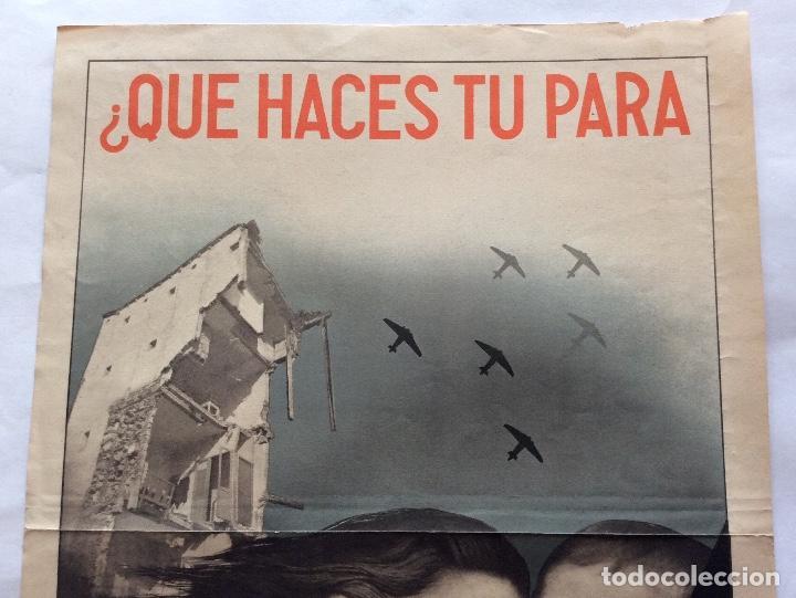 Carteles Guerra Civil: CARTEL GUERRA CIVIL. AYUDA A MADRID. ¿QUE HACES TÚ PARA EVITAR ESTO? . ANÓNIMO. 27.5 X 39.5 CMS. - Foto 4 - 138296966