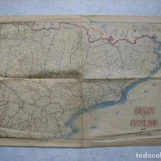 Carteles Guerra Civil: MAPA DEL MOVIMIENTO DE TROPAS DE LA GUERRA CIVIL ESPAÑOLA. ANOTACIONES O ILUSTRACIONES A MANO. Lote 142203782