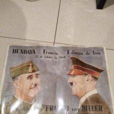 Carteles Guerra Civil: POSTER EN FUNDA DE PLÁSTICO DE FRANCO Y HITLER. Lote 143804074
