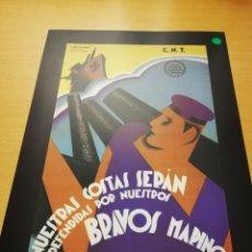 Carteles Guerra Civil: NUESTRAS COSTAS SERÁN DEFENDIDAS POR NUESTROS BRAVOS MARINOS (VICENTE BALLESTER, 1937). Lote 147721750