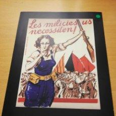 Carteles Guerra Civil: LES MILICIES US NECESSITEN! (¡LAS MILICIAS OS NECESITAN!) CRISTÓBAL ARTECHE, 1936. Lote 147725194