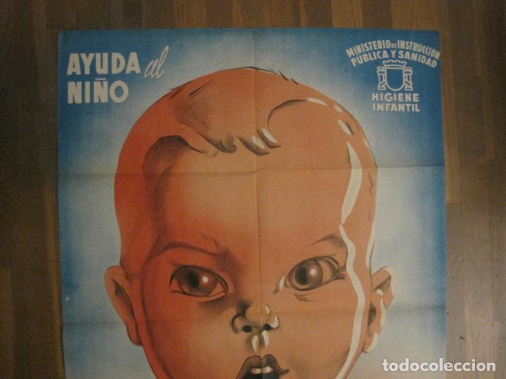 Carteles Guerra Civil: CARTEL GUERRA CIVIL ORIGINAL-AYUDA AL NIÑO-VICTIMAS DE GUERRA-HIGIENE INFANTIL-VER FOTOS-(CARPB-34) - Foto 2 - 149866582