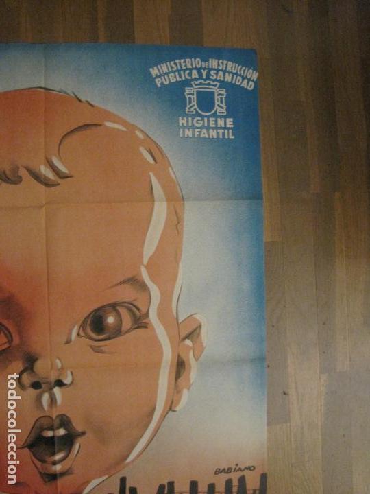 Carteles Guerra Civil: CARTEL GUERRA CIVIL ORIGINAL-AYUDA AL NIÑO-VICTIMAS DE GUERRA-HIGIENE INFANTIL-VER FOTOS-(CARPB-34) - Foto 5 - 149866582