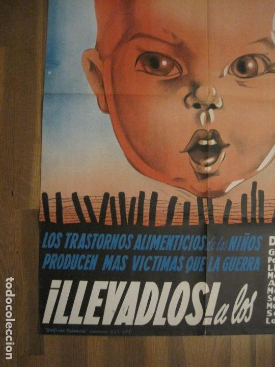 Carteles Guerra Civil: CARTEL GUERRA CIVIL ORIGINAL-AYUDA AL NIÑO-VICTIMAS DE GUERRA-HIGIENE INFANTIL-VER FOTOS-(CARPB-34) - Foto 6 - 149866582