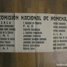 Carteles Guerra Civil: CARTEL PASQUIN GUERRA CIVIL ORIGINAL-COMISION NACIONAL HOMENAJE-CNT FAI-VER FOTOS-(CARPB-36). Lote 149867634