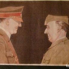 Carteles Guerra Civil: HENDAYA-ENTREVISTA FRANCO-HITLER-1940-42X29 CM. Lote 150659114
