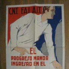 Carteles Guerra Civil: CARTEL GUERRA CIVIL CNT FAI AIT-SINDICATO AGRICOLA-RICARD OBIOLS-ORIGINAL-VER FOTOS-(CARPB-73). Lote 161832258