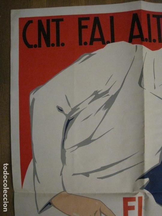 Carteles Guerra Civil: CARTEL GUERRA CIVIL CNT FAI AIT-SINDICATO AGRICOLA-RICARD OBIOLS-ORIGINAL-VER FOTOS-(CARPB-73) - Foto 6 - 161832258