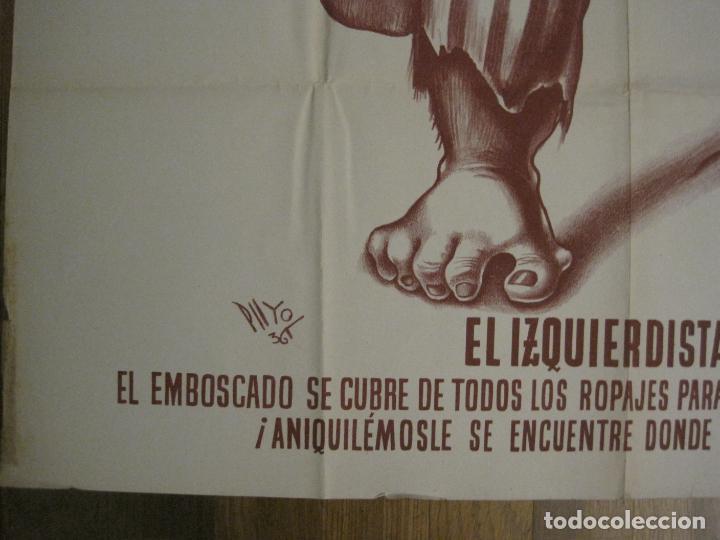 Carteles Guerra Civil: CARTEL GUERRA CIVIL SOCORRO ROJO-ORTEGA UGT CNT-IZQUIERDISTA-ILUS·PUYOL-ORIGINAL-VER FOTOS(CARPB-75) - Foto 4 - 161833034